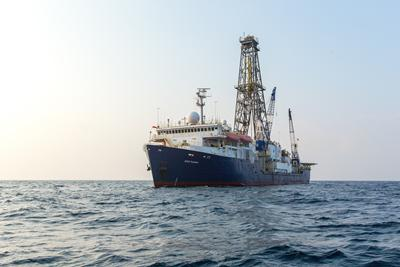 The Joides Resolution: a drill ship of the IntegratedOcean Drilling Program.