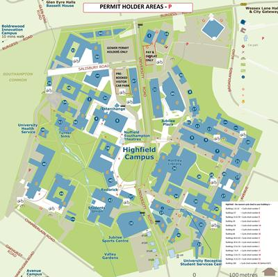 Secure cycle shed locations across Highfield Campus