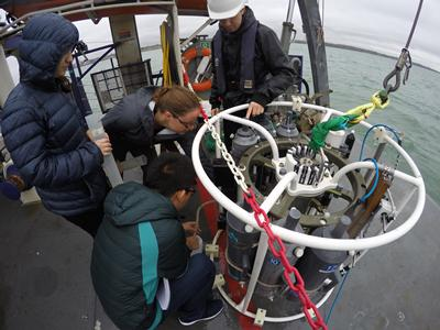 Students collect data aboard RV Callista