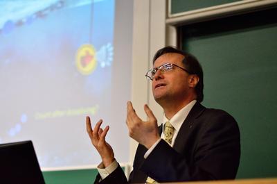 Professor Tim Leighton giving a talk on AMR