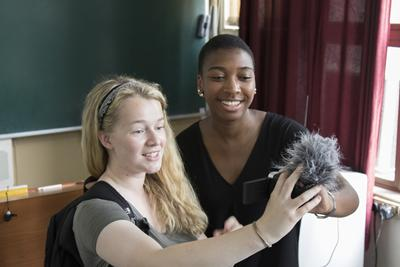 Spark India students (Lucy Bassett and Oreolu Grillo) recording a vlog