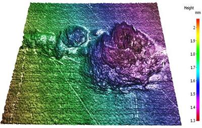 3-D colour map optical image of a typical 'pit' from a crevice corrosion attack