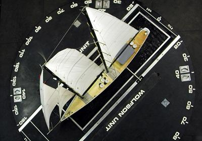 A sail test being carried out in the low speed section of the 7' x 5' wind tunnel