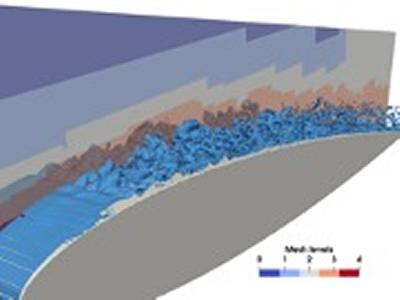 Figure 5:  LBM-LES aeroacoustics simulation of a NACA0012 airfoil at Re=500,000, M=0.22 and 10° angle of attack. Iso-contour of the vorticity norm and cross-sectional view of mesh levels.