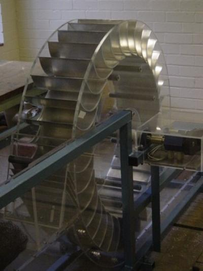 1m diameter model of a breastshot water wheel