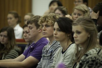 Students sat in lecture theatre