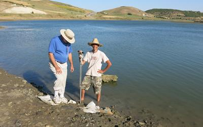 Taking cores in the river basin, north-west of Lixus