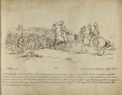 The Duke of Wellington rallying British troops at Battle of Waterloo.