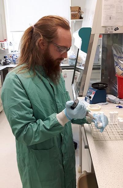 Callum Highmore in the laboratory