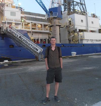 Dr Diederik Liebrand with scientific drill-ship JOIDES Resolution