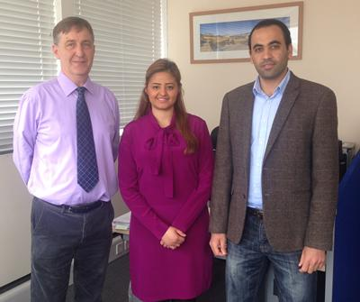 Professor Simon Wolfe with Hana Bawazir and Mohamed Bakoush