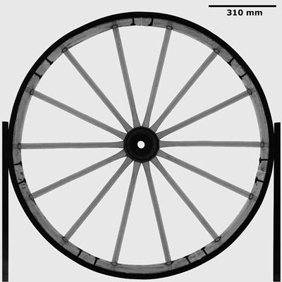 Radiography study of a whole cart wheel
