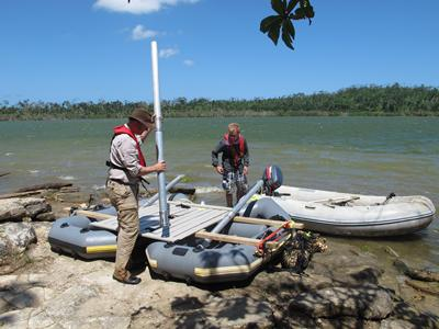 equipment in order to retrieve sediment cores from the bottom of Lake Emaotul.