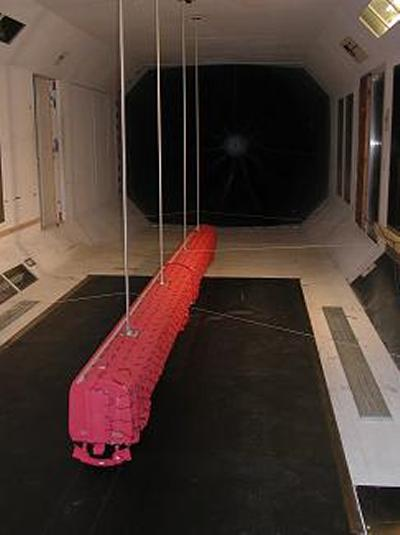 Train scale model being tested in the R. J. Mitchell wind tunnel