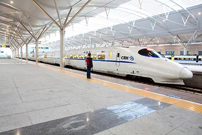High-speed train in station