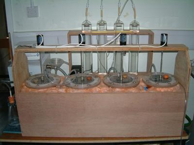 Lab scale reactors for leachate treatment trails