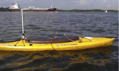 This autonomous robotic kayak was used to sample water in the coastal zones of Singapore