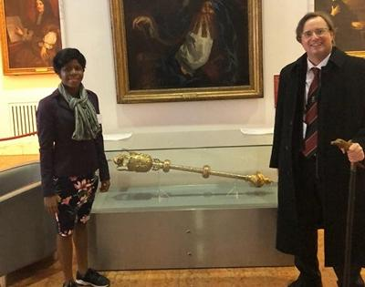 Magdalene Odikro and Prof Leighton at the Royal Society