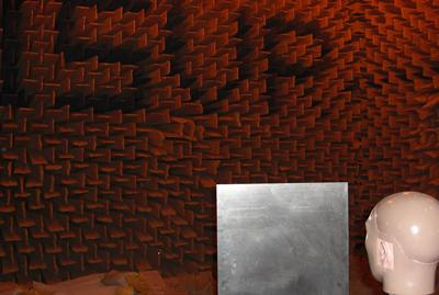 Testing takes place in the large anechoic chamber