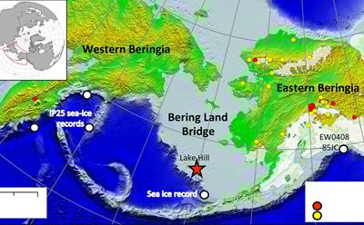 Map showing Bering Land Bridge.