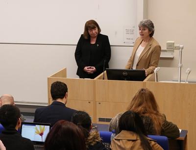 Professor Yvonne Battz introduces Elizabeth to the audience