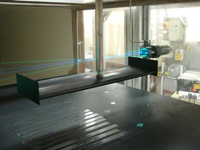 A scale wind tunnel model being tested in the 3' x 2' wind tunnel using 2D Laser Doppler Anemometry