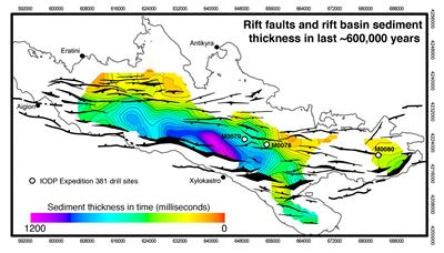 Faults and sediment thickness in Corinth rift basin last 600,000 year