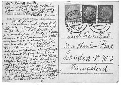 A postcard, c. 1937; a father asks his daughter for help emigrating from Germany.