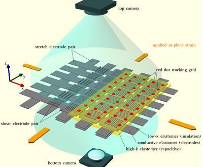 Schematic of experimental set-up to train 2D flexible sensor