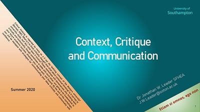 Context, Critique and Communication