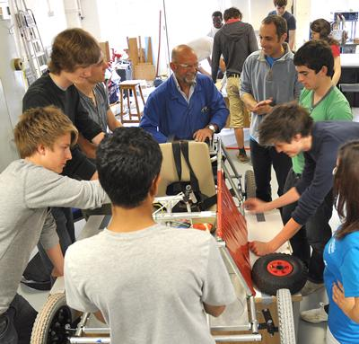 Participants building their Greenpower electric car