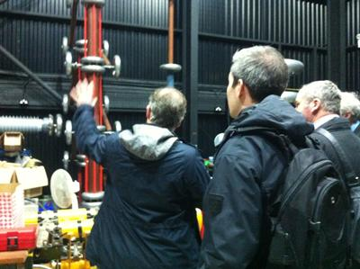 During the showcase - Professor Paul Lewin showing the visitors some of the testing facilities at the Tony Davies High Voltage Lab, University of Southampton