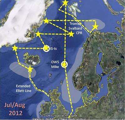 Track of consortium Arctic cruise