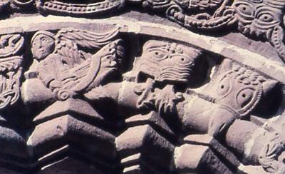 Sculptured heads, Kilpeck Church