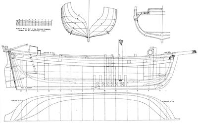 Late 18th century plan of a trading hoy, likely to be a similar vessel to the unidentified Alum Bay shipwreck (Image after MacGregor 1980: Fig 72).