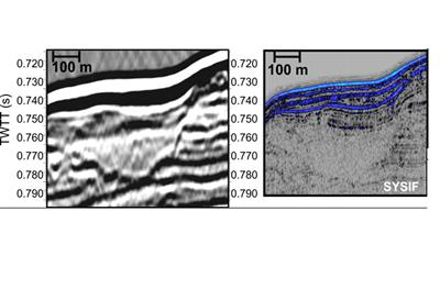 A comparison between a JR211 seismic image [left] and very high-resolution SYSIF image (right) shows impressive details of glaciomarine structures in the latter. (Same vertical exaggeration)