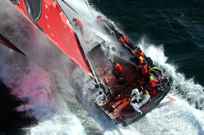 One of the Volvo Ocean Race boats in full action