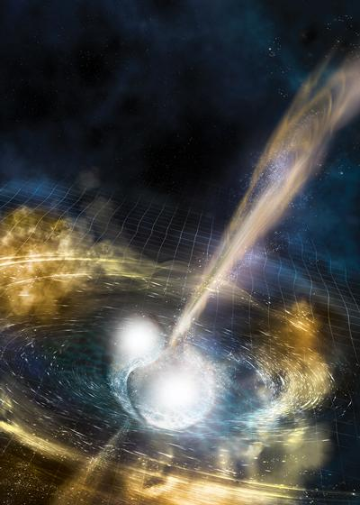 Artist's impression of two merging neutron stars.