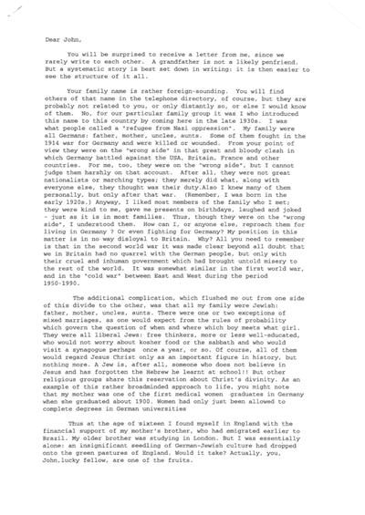 A letter, c. 1993; a former Jewish refugee tells his grandson about his German background and experiences as a 16 year old refugee in Britain, 1939.