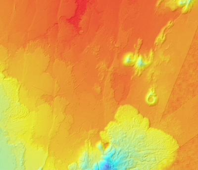 Digital elevation model for fault and cone field near Boset Volcano