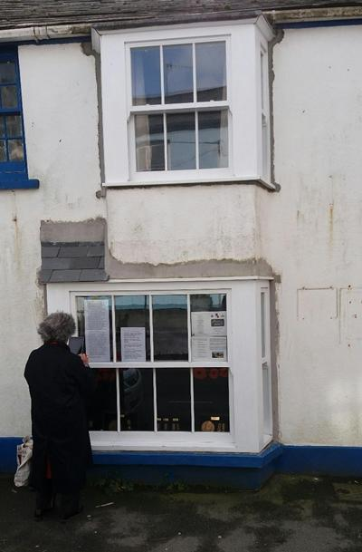 A shop window in Hartland given over to the memory of the ship