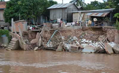 River bank erosion on the Mekong