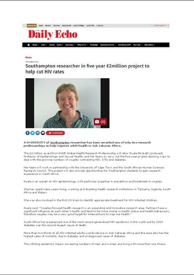 Southampton Daily Echo_Professor Nuala McGrath