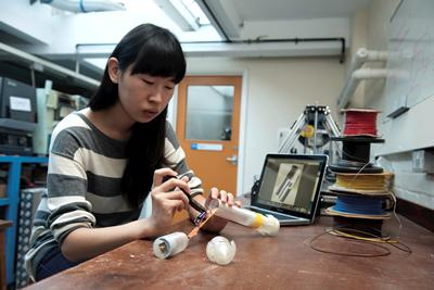 Ping Lu designed and built a roboworm for her research project