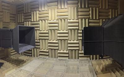 New 0.75 m x 1.0 m Anechoic Wind Tunnel (AWT) at the University of Southampton.