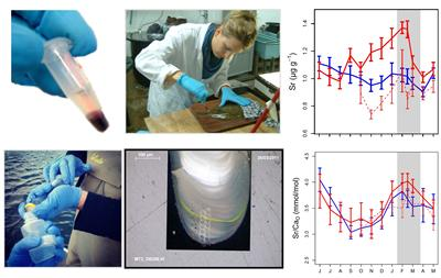 Measuring chemical relationships between fish blood, water and tissue.