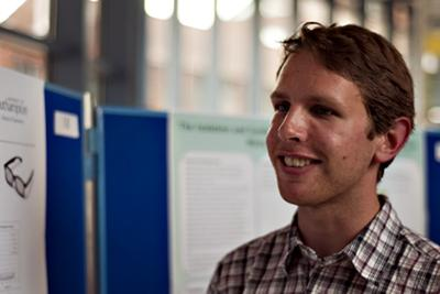 MChem student Chris Hinde at the poster event