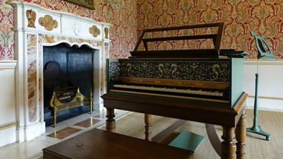 Michael Johnson Harpsichord in the Red Room at Mottisfont