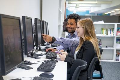 Students on computers in the careers centre