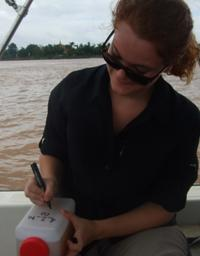 Collecting Mekong sediment samples